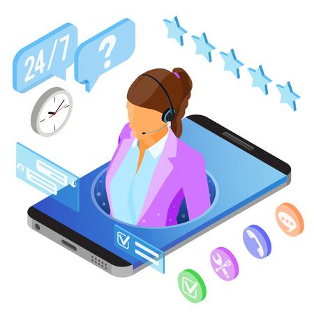 Isometrisches Online-Kundenbetreuungskonzept. Mobiles Callcenter mit Beraterin, Headset, Chat-Symbolen. isolierte Vektorillustration