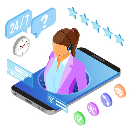 Online isometric customer support concept. Mobile call center with female consultant, headset, chat icons. isolated vector illustration 스톡 콘텐츠 - 118831163