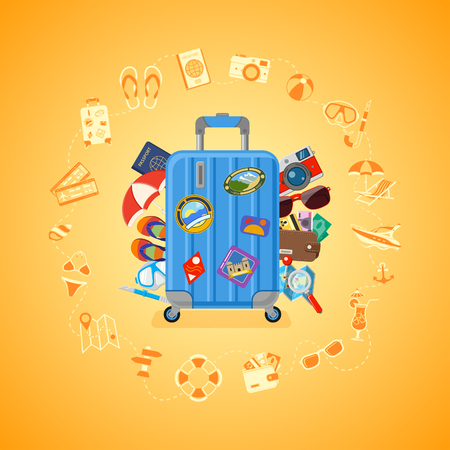 Vacation, Tourism, travel and Summer Concept with Flat Icons for Web Site, Advertising like suitcase with passport, map, wallet, camera and diving mask. Isolated vector illustration Ilustracja