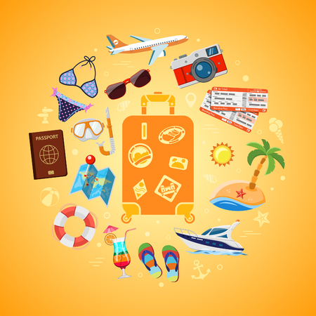 Vacation, Tourism, travel and Summer Concept with Flat Icons for Web Site, Advertising like suitcase with passport, map, boat, camera and diving mask. Isolated vector illustration