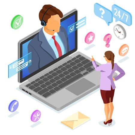 Concept de support client isométrique en ligne. Centre d'appels mobile avec consultant homme, casque, ordinateur portable, icônes de chat. illustration vectorielle isolé Vecteurs