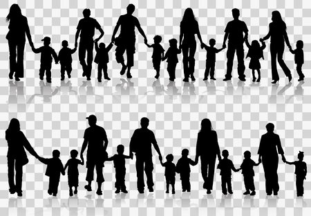 Large Set family Silhouettes Parents with Children holding Hands, vector illustration isolated on transparent background Çizim