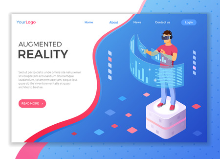 Man wearing virtual reality glasses with augmented reality touches transparent screens. isometric future technology. isolated vector illustration. landing page template