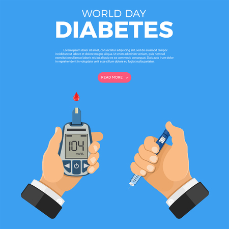 Control your Diabetes concept. World diabetes day. Hands holds blood glucose meter and insulin pen syringe. isolated vector illustration