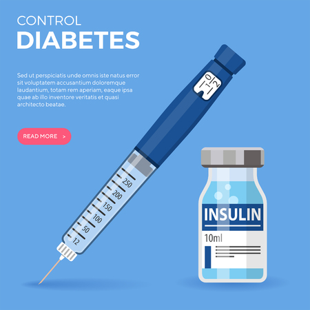 Control your Diabetes concept. Insulin pen syringe and insulin vial. flat style icon. concept of vaccination, injection. isolated vector illustration Ilustração