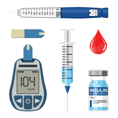Control your Diabetes concept. Icons Set with blood glucose meter, insulin pen syringe. isolated vector illustration