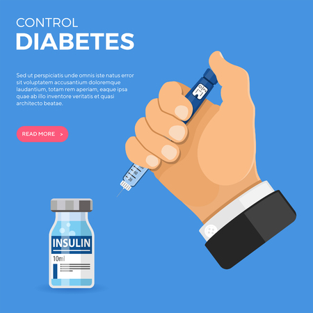 Control your Diabetes concept. Hand hold insulin pen syringe and insulin vial. flat style icon. concept of vaccination, injection. isolated vector illustration Ilustração