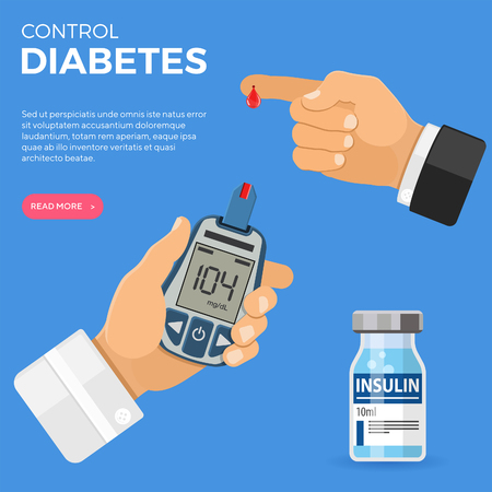 Doctor hand holds blood glucose meter and finger with blood drop. Sugar level testing, treatment, monitoring and diagnosis of diabetes concept. icon in flat style. isolated vector illustration