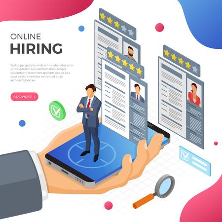 Isometrisches Online-Beschäftigungs-, Einstellungs- und Einstellungskonzept. Personal der Internet-Jobagentur. Hand mit Smartphone, Arbeitssuchender und Lebenslauf. isolierte Vektorillustration