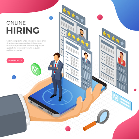 Online isometric employment, recruitment and hiring concept. Internet job agency human resources. Hand with smartphone, job seeker and resume. isolated vector illustration Иллюстрация