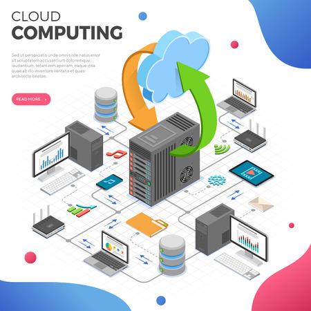 Data Network Cloud Computing Technology Isometrisches Geschäftskonzept mit Netzwerkserver, Computer, Laptop, Router und Multimedia-Symbolen. Daten speichern und übertragen. isolierte Vektorillustration
