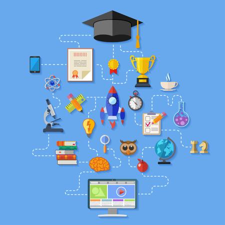 Infographie de l'éducation en ligne avec jeu d'icônes plat pour Flyer, affiche, site Web comme le mortier, les livres, le microscope et l'ordinateur. illustration vectorielle isolé