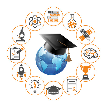 Online Education and E-learning concept with realistic and flat icons for Flyer, Poster, Web Site. isolated vector illustration