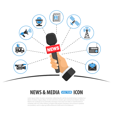 Media and News Vector Concept with Icon set in two color such as Newspaper Camera and journalist hand holds microphone. Isolated vector illustration
