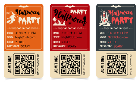 Vertical Halloween Party Posters with Castle, Witch, Bat, Zombie and Halloween Lettering. isolated vector illustration