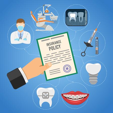 Concept de service d'assurance dentaire. soins dentaires avec des icônes plates, la main tient la police d'assurance, le dentiste, la seringue, l'implant, la chaise de dentiste, les accolades. illustration vectorielle Vecteurs