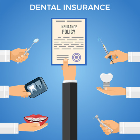 Dental Insurance Services Concept. dental care  with flat icons hand holds insurance policy, and hands doctor dentist hold braces, dental drill, implant, tooth. vector illustration