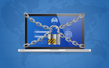 Computer Cyber Internet and personal Data security Protection web banner. Laptop with Lock, Chain, Login and Fingerprint Form. VPN, antivirus, hacking concept. realistic vector illustration