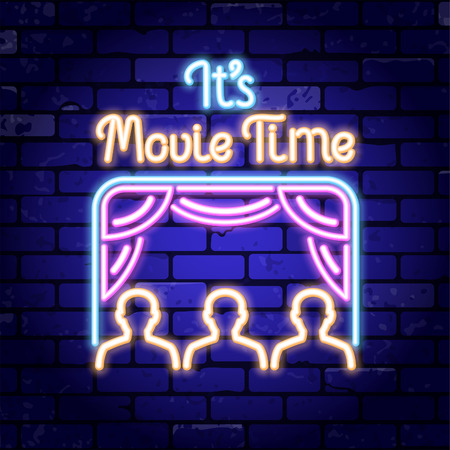 Cinema and Movie time neon  . Bright night signboard with cinema screen and viewers. Vector illustration with neon icons Ilustrace