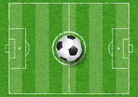 realistic soccer ball on football field with grass texture, top view, vector illustration Çizim