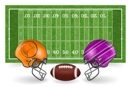 american football field with line, realistic ball, helmet and grass texture. vector illustration