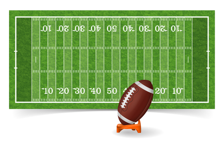american football field with line, realistic ball and grass texture. vector illustration