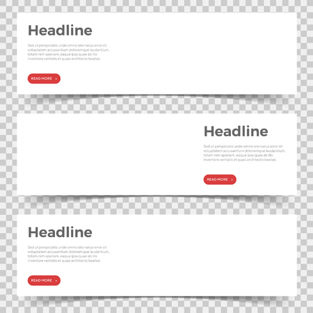 White horizontal mockup banners with headline, description and button. paper banner with shadow on transparent background for business, web, portfolio, branding template. isolated vector illustration