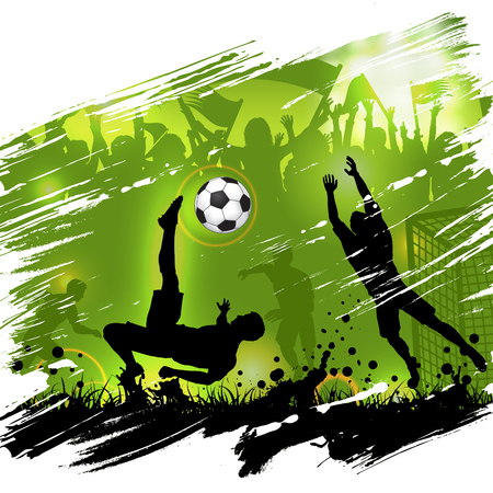 Soccer championship poster with silhouettes football players, soccer ball and silhouettes fans, grunge background, vector illustration Stok Fotoğraf - 133191116