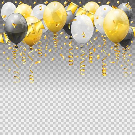 Geburtstag mit Luftballons, goldene Streamer verdrehte Bandfahnen. Geburtstagskarneval, Weihnachtsfeier, Neujahrsdekoration mit transparentem Ballon. isolierte Vektorillustration auf transparentem Hintergrund
