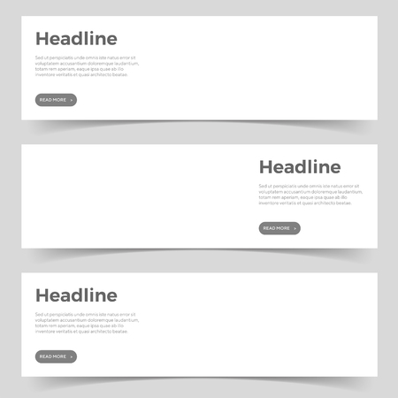 White horizontal mockup banners with headline, description and button. paper banner with transparent shadow for business, web, portfolio, branding template. isolated vector illustration