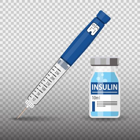 Control your Diabetes concept. Insulin pen syringe and insulin vial. flat style icon. concept of vaccination, injection. isolated vector illustration on transparent background