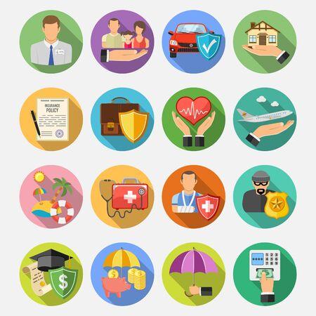 Set di icone piane rotonde di assicurazione con ombra lunga per poster, sito Web, pubblicità come casa, auto, medicina e affari. illustrazione vettoriale isolato