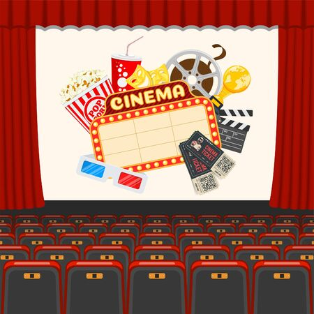 cinema auditorium with seats and signboard, popcorn, drink in paper cup, 3d glasses, tickets on screen. flat style icons. isolated vector illustration