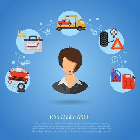 Servicio de automóvil, asistencia en carretera y pancartas de mantenimiento con operador de iconos planos, reparación de automóviles, servicio de neumáticos, soporte y grúa. ilustración vectorial