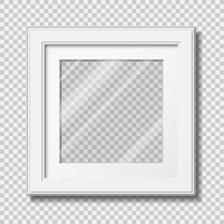 Mockup modern frame for photo or pictures with transparent glass. realistic white wooden frame. vector illustration isolated on transparent background Imagens - 134677952