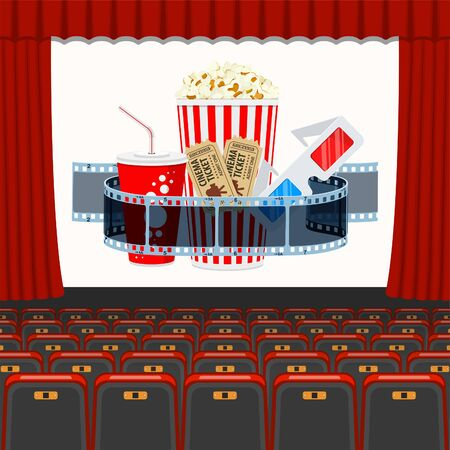 cinema auditorium with seats and transparent film, popcorn, drink in paper cup, 3d glasses, tickets on screen. flat style icons. isolated vector illustration Illusztráció