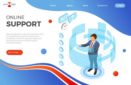 Online isometric customer support concept. Mobile call center with man consultant, headset, chat icons. support 24h online. landing page template. isometric people. isolated vector illustration