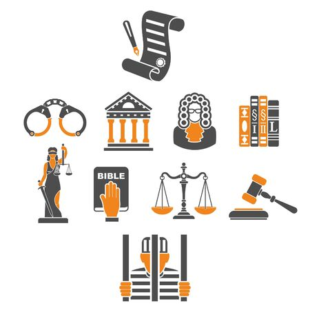 Crime and punishment concept with lady justice, gavel, criminal, judge, law books and prison. isolated vector illustration Foto de archivo - 135402401