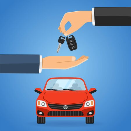 Purchase, Buy, Sharing or rental car concept with flat icons. car dealer gives keys to buyer. isolated vector illustration