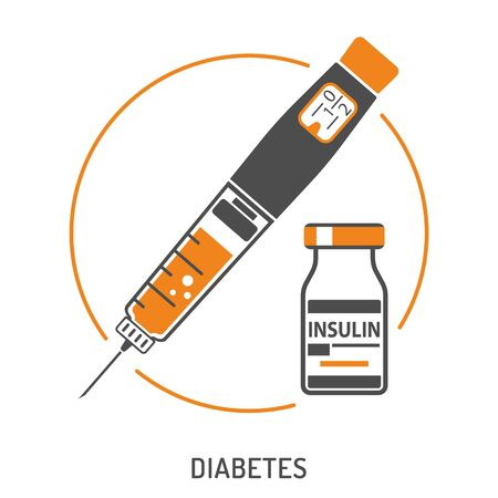 Control your Diabetes concept. Insulin pen syringe and insulin vial. flat style icon. concept of vaccination, injection. isolated vector illustration Illusztráció