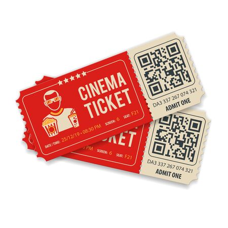 Two cinema tickets with QR code, viewer, popcorn and soda, flat style icons, isolated vector illustration
