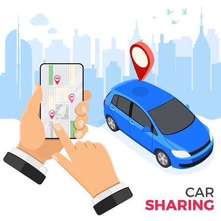 Car sharing service concept. Man online choose car for carsharing. Auto rental, carpool, shared for city trips through mobile application. Isometric vector illustration