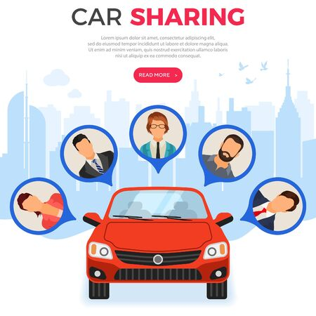 Car sharing service concept. People online choose car for carsharing. Auto rental, carpool, shared for city trips. vector illustration