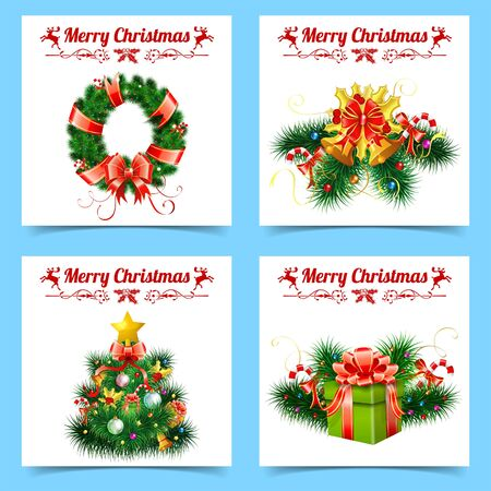 Christmas and New Year Banners with Tree, Ribbons, Gifts, Wreath, Labels, and Bell. Isolated vector illustration Template for Cover, Flyer, Brochure, Greeting Card.