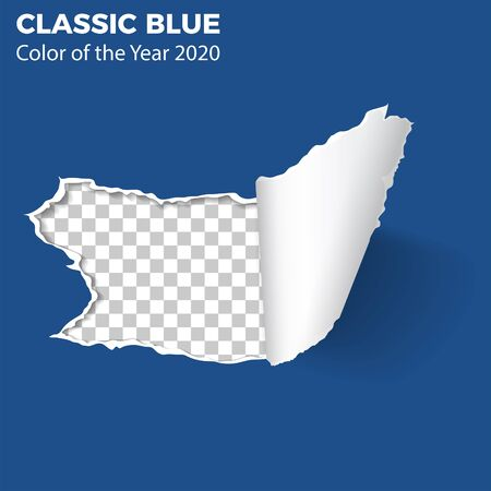 Classic Blue. Color of the Year 2020. Realistic hole in sheet of paper with torn edges on isolated transparent background. Vector illustration Vektoros illusztráció