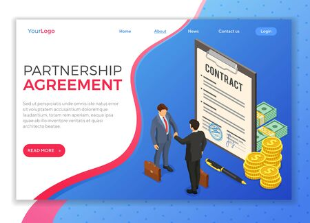 Handshake business mans after negotiating successful deal. partnership collaboration corporate business. clipboard pad with signed contract. B2B hero images. isometric vector. landing page template