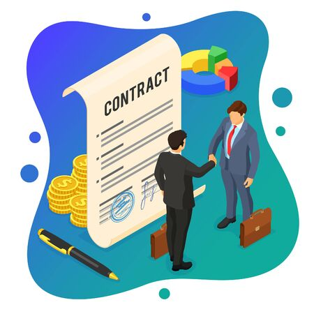 Handshake business mans after negotiating successful deal. partnership collaboration corporate business. signed contract. B2B hero images. isometric isolated vector