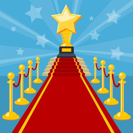 Cinema and Movie concept with flat icons red carpet award, vector illustration Stock Vector - 136606149