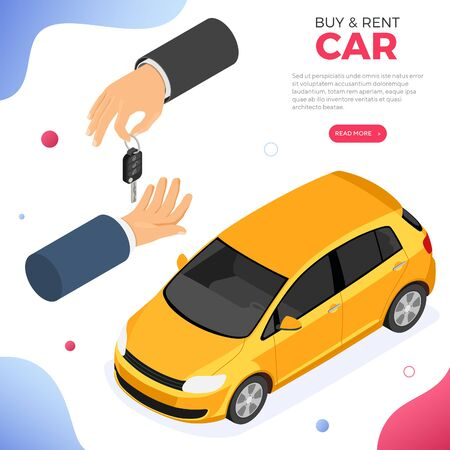 Buy, car sharing or rental car concept with isometric icons. hand holding keys. Auto carpool, shared for city trips. Isometric isolated vector illustration