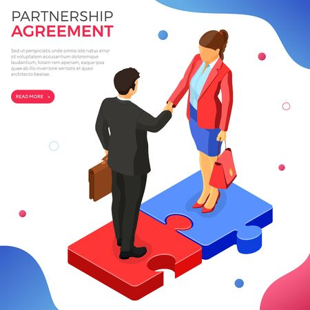 Handshake business man and woman after negotiating successful deal. startup partnership to achieve goals. teamwork. puzzles infographics. B2B hero images. isometric isolated vector